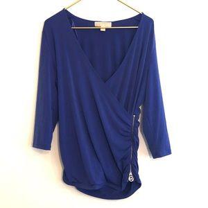 [Michael Kors] Blue Ruched Zipper Blouse - Large